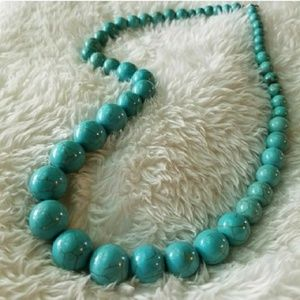 Howlite TURQUOISE Graduated Round Bead Necklace